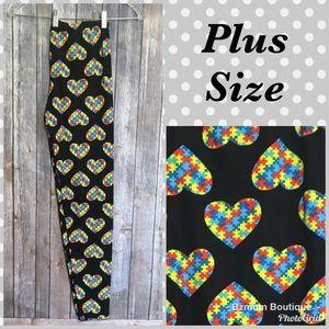 Pants - Plus Size Autism Heart Leggings